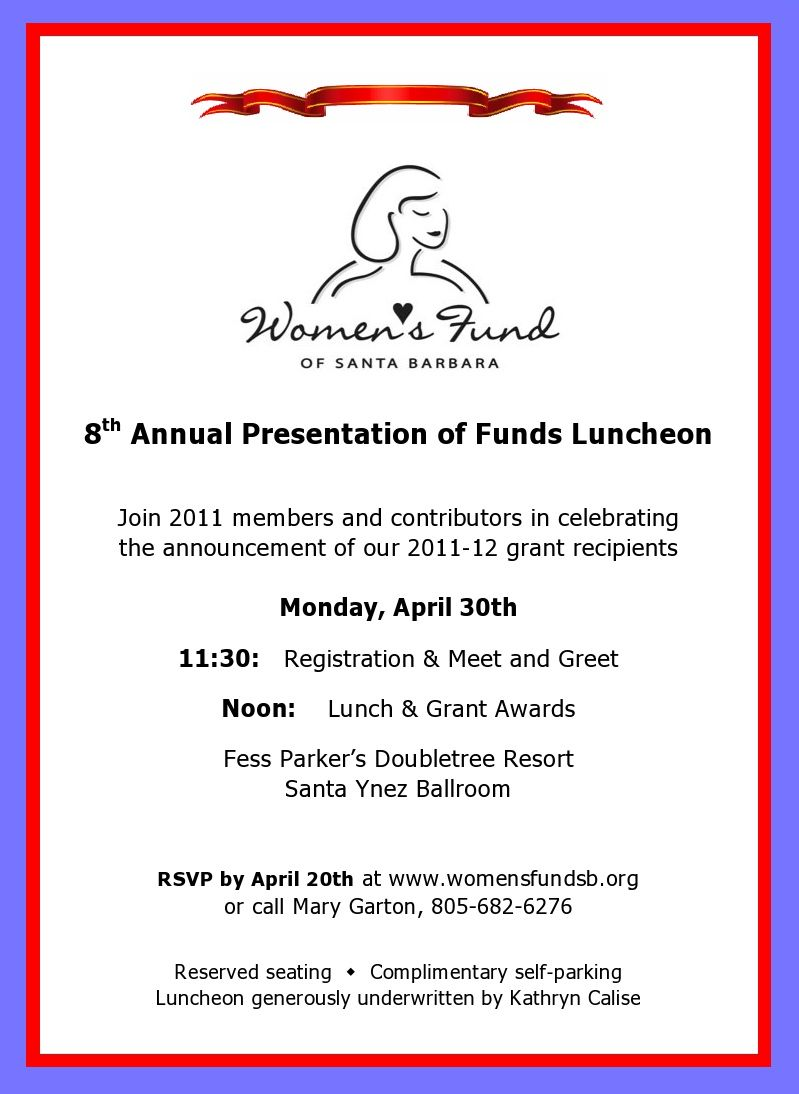 Reminder to rsvp for april 30 womens fund luncheon newsletter invitation stopboris Choice Image