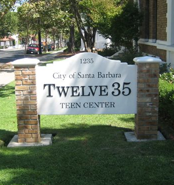 Twelve35 Teen Center: Address sign on Chapala Street