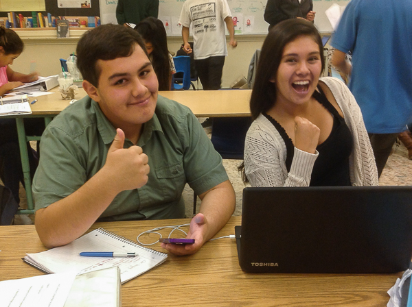 """Posse Program: Opening Doors to College: """"thumbs up"""" from two students"""