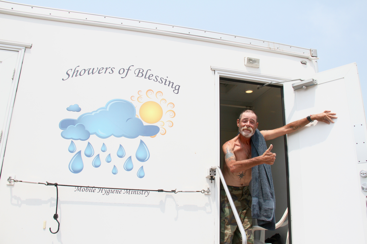 Showers of Blessing's mobile shower/bathroom units provide cleanliness – along with dignity and respect – for people who are homeless.