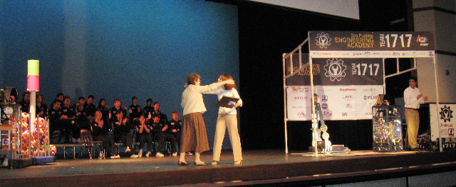 2008 Dos Pueblos Engineering Academy two students on stage at science fair
