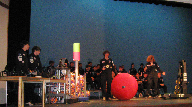 2008 Dos Pueblos Engineering Academy student with big red sphere