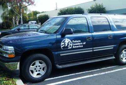 2008 Future Leaders of America new van with Women's Fund logo on drivers side