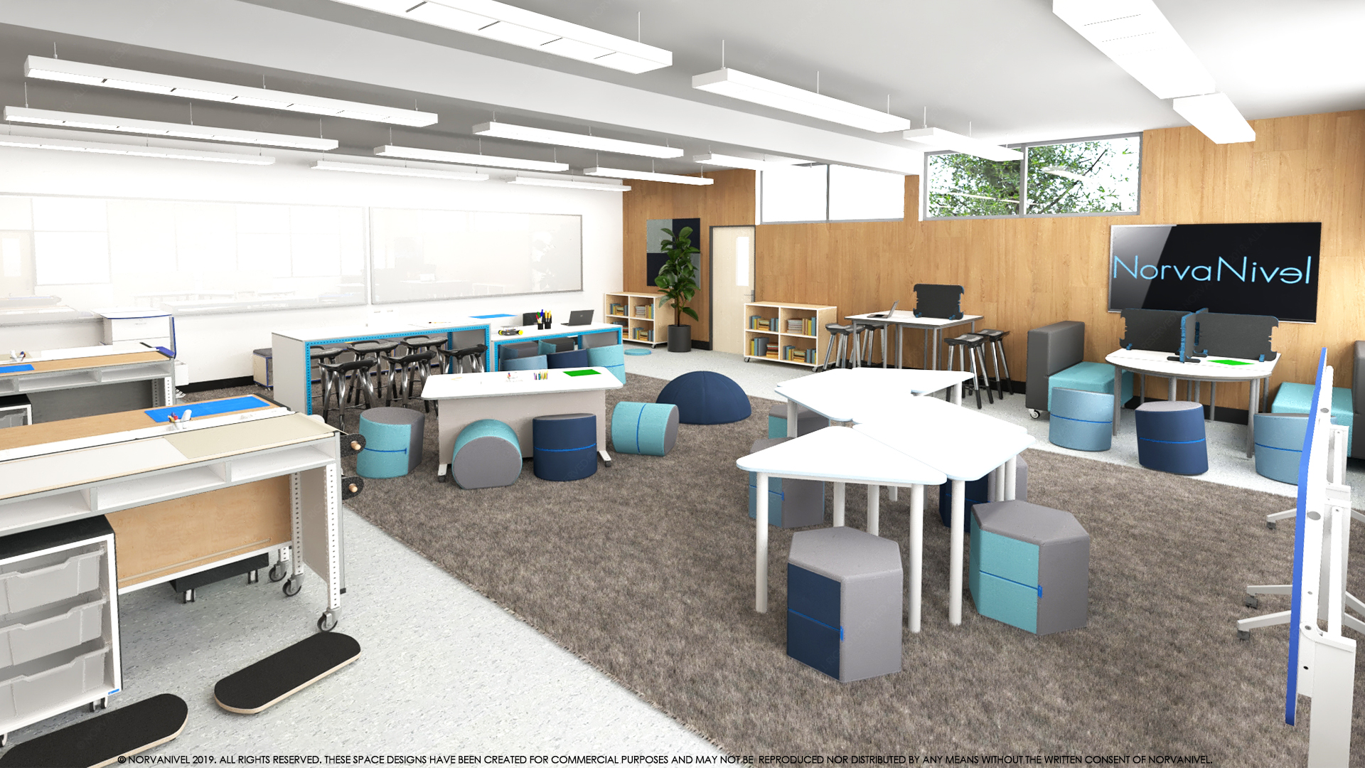 New STEAM lab at El Camino School features flexible seating, interactive computer technology, digital media production equipment, lighting and software for video editing and design.