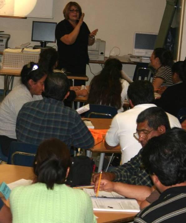 2008 Parent Project parents in desk at class