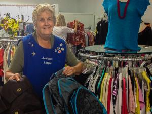 WF member, Jane Atwater, at the Assistance League of SB.