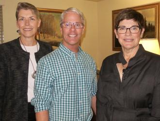 Lynn Karlson and Maureen Ellenberger with Chris Tucker, ED Garden Court