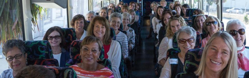 Women riding Airbuses to visit grantees